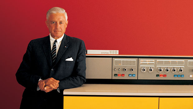 IBM President Thomas J. Watson, Jr. with the System/360 in 1964.