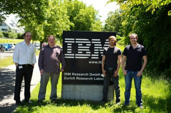 From left to right: HPC scientists Costas Bekas, IBM; Pavel Klavik,IBM and Charles University in Prague; Yves Ineichen, IBM and Cristiano Malossi, IBM