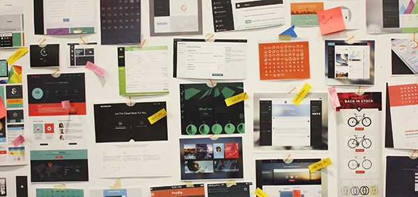 The IBM Bluemix designers' inspiration board, used to spur creative thinking, share ideas and build consensus.