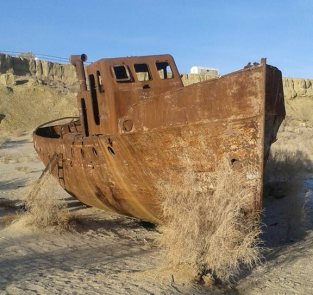 Rusted ship in the Aral Sea.