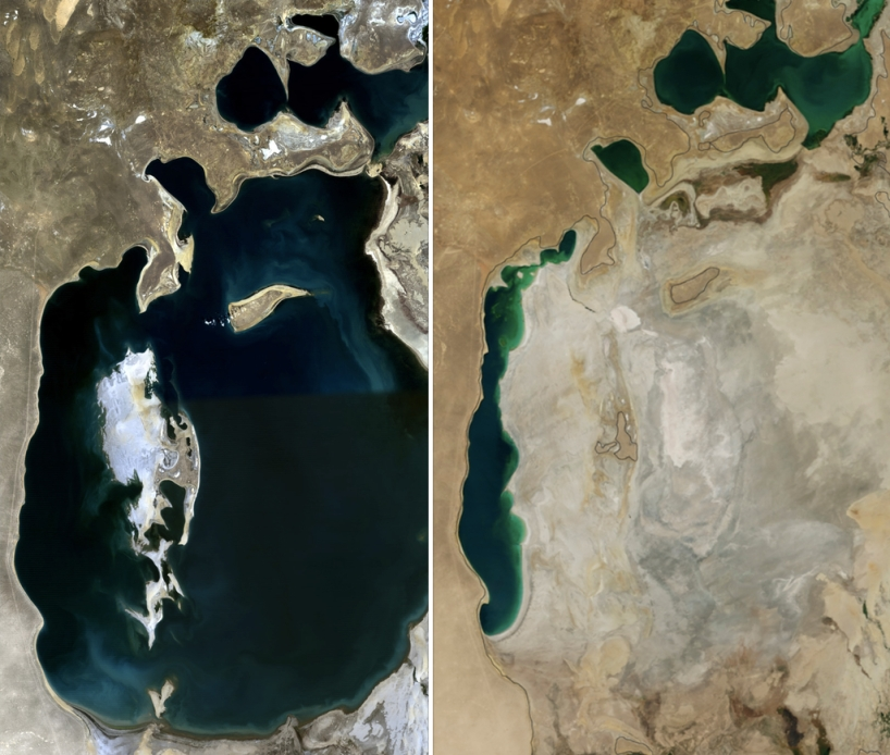 Aral Sea in 1989 (left), and 2014 (right).