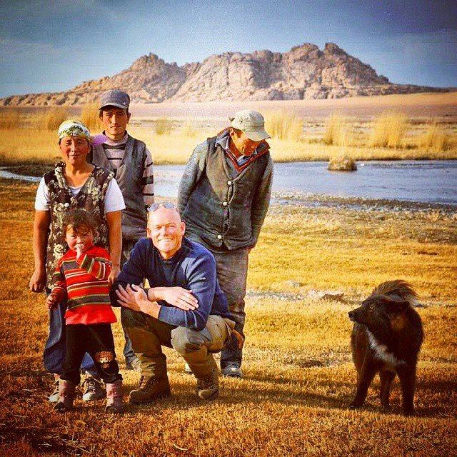 Gert Jan Keizer, Dutch Courage Foundation, with farming family in the Altai Mountains.