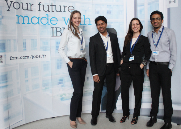 "Members of the ""BLUE"" student team from HEC Paris celebrate their victory at the first international Watson Case Competition in France."