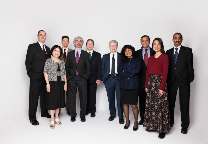 From right-hand side: Bala Rajaraman, Donna Eng Dillenberger, Mickey Iqbal, Chitra Dorai, James C. Sexton, Bernhard Schiefer, Michael Factor, John R. Smith, Jing Shyr, and James Steve Fields.