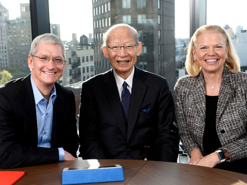 Tim Cook, CEO Apple; Taizo Nishimuro, CEO, Japan Post; Ginni Rometty, CEO IBM